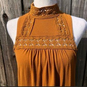 3/$30 American Rag Mustard Crochet Blouse